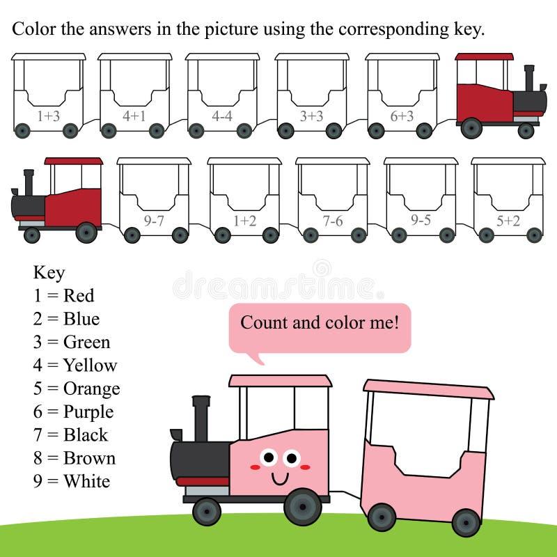 Matematyki obliczenia koloru pociąg ilustracji