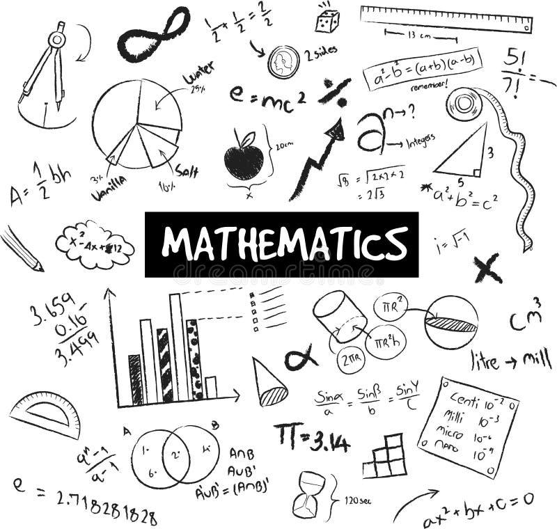 Matematyki teoria i doodle matematycznie formuły, modela i wykresu ilustracja wektor