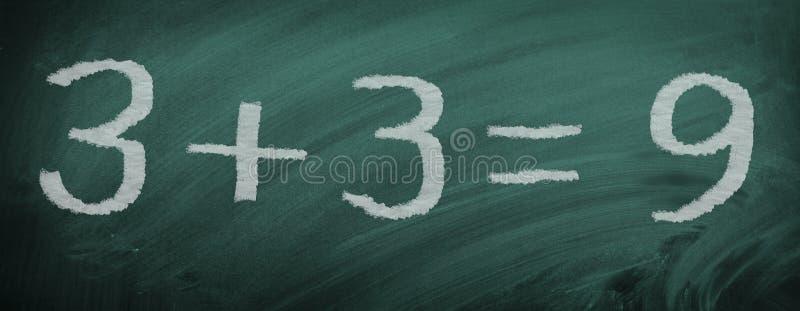Matematyki zadanie na łupku - niewłaściwie kalkulujący - zdjęcia royalty free