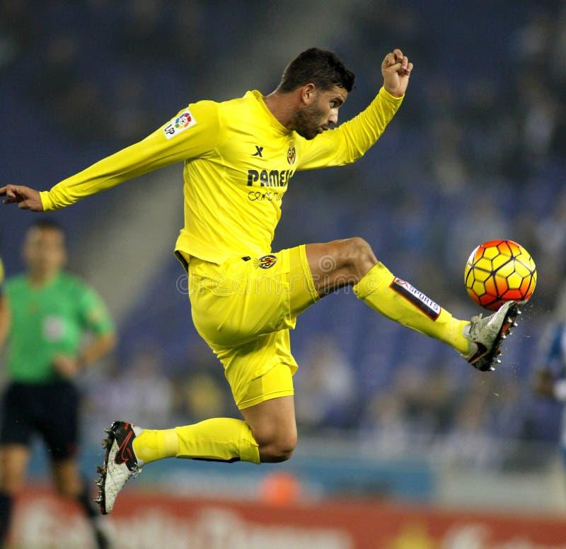Mateo Musacchio dei CF di Villareal fotografia stock libera da diritti