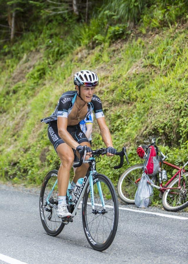 Mateo Trentin sur Col du Tourmalet - Tour de France 2014 photo libre de droits