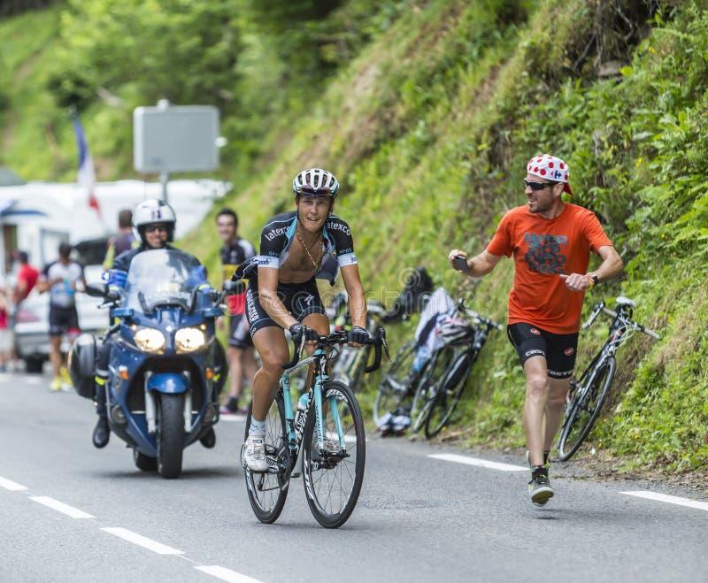 Mateo Trentin sur Col du Tourmalet - Tour de France 2014 photographie stock