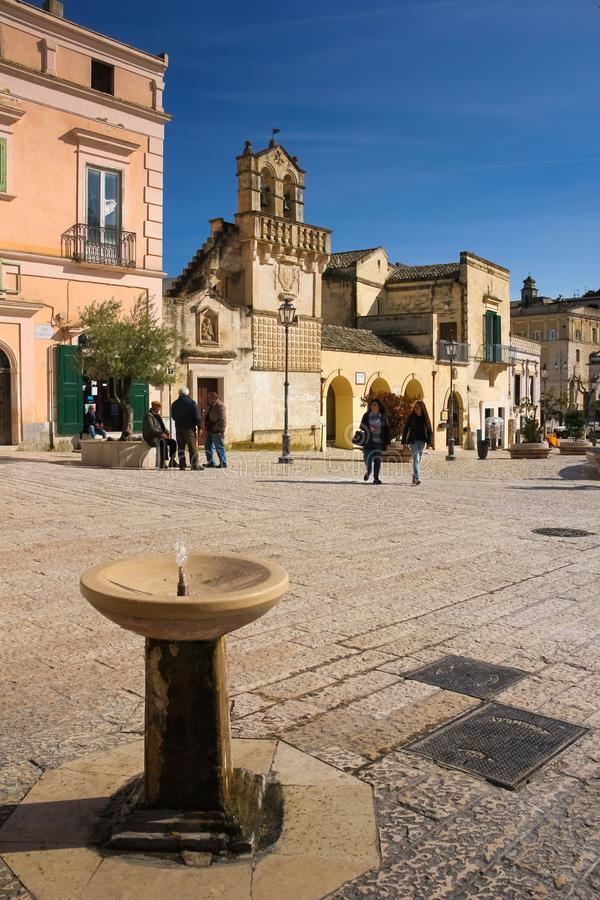Piazza Vittorio Veneto. Matera. Basilicata. Apulia or Puglia. Italy stock photos
