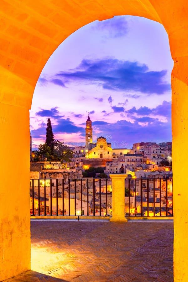 Matera, Basilicata, Italy: Night view of the old town - Sassi di Matera royalty free stock photography