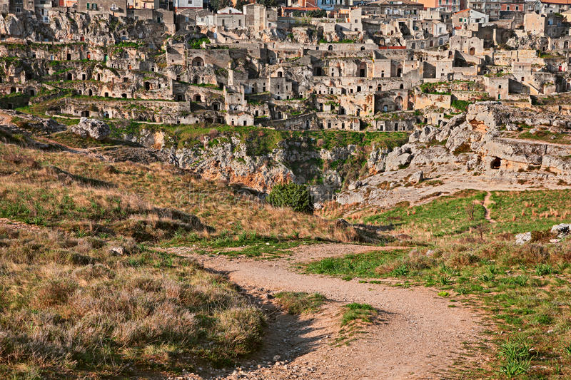 Matera, Basilicata, Italy: view of the old town sassi di Matera stock photos