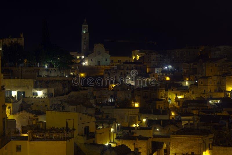 Matera in der Nacht stockbilder