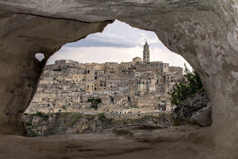 Matera från en grotta royaltyfria foton