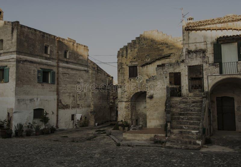 Matera gatastad Italien royaltyfria bilder