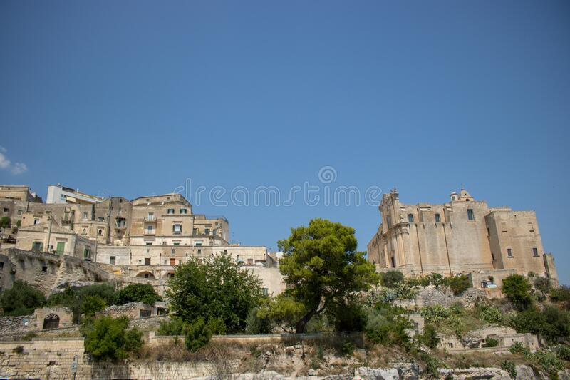The city of Matera, Italy. Matera, Italy - August 10, 2020: the historic center of Matera in summer time royalty free stock photography