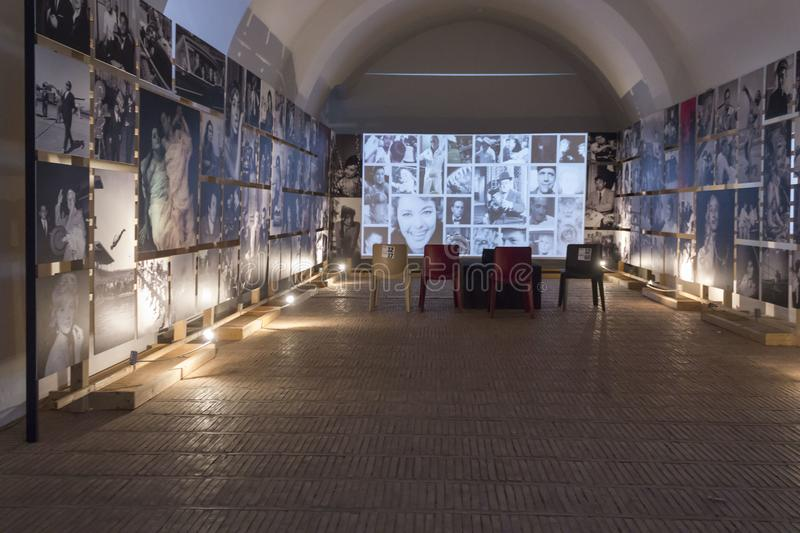 Historic location in Matera hosting an exhibition on Italian Cinema royalty free stock photos