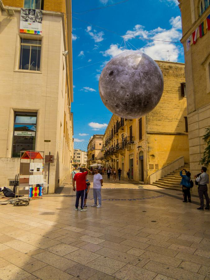 Moon landing celebration in Matera, Italy. MATERA, ITALY - JULY 17, 2019: Picturesque street in the old town with celebration for the 50th anniversary of the Man stock image