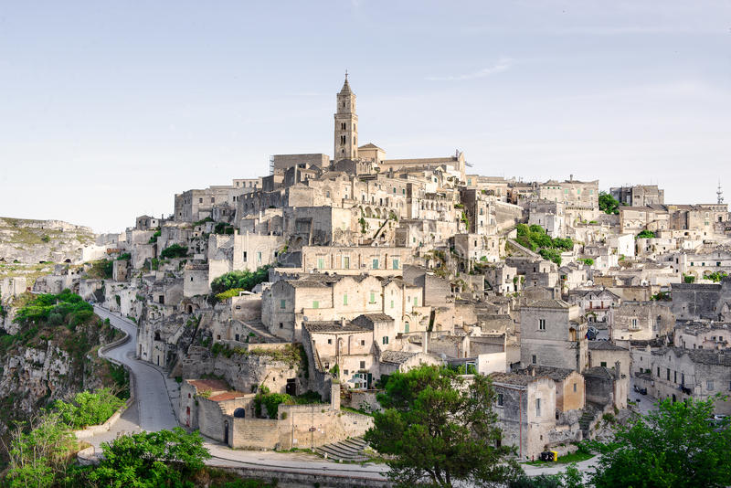 Matera, Middeleeuwse stad in Italië royalty-vrije stock afbeelding