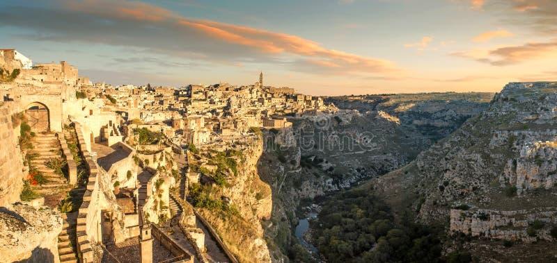 Matera Sassi, het Gebied van Basilicata, Italië stock foto's