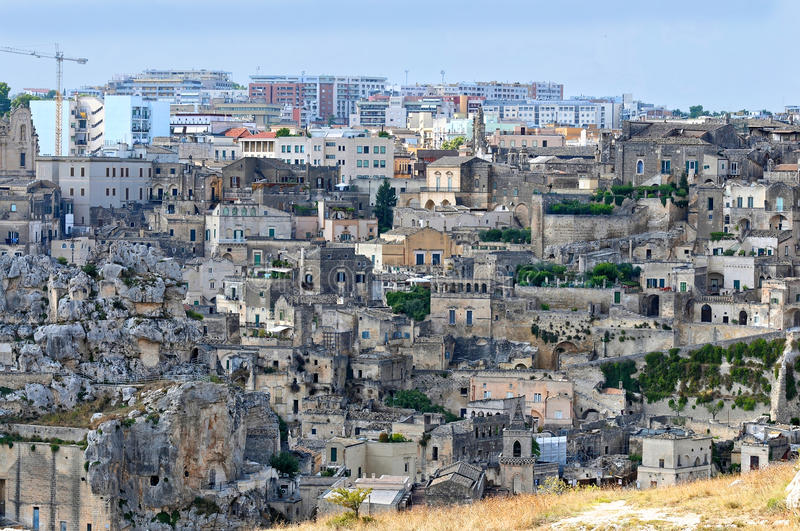 Matera. In southern Italy is one of the oldest towns of the world. The Sassi di  (meaning stones of ). The Sassi, originate from a prehistoric settlement, are royalty free stock image