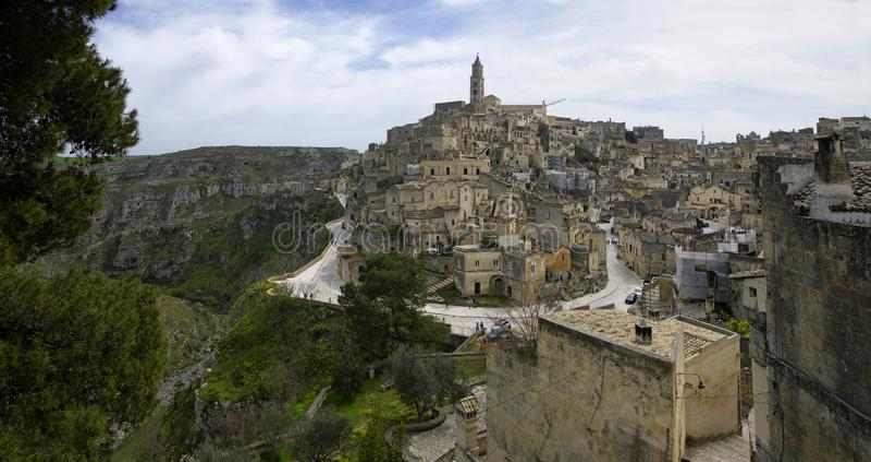 Matera stad, Basilicata, Italien Lokal för Unesco-världsarv Europeisk huvudstad av kultur 2019 royaltyfri fotografi