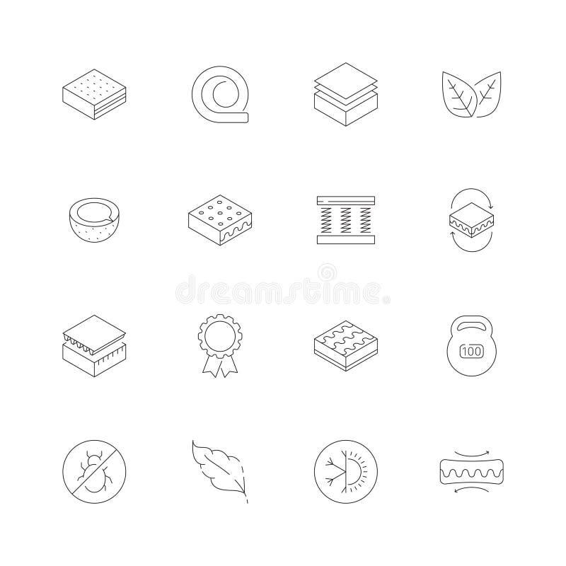 Materac ikony Ortopedycznej pamięci piany opieki zdrowotnej łóżka powietrza okurzania lateksowej nocy meblarskie wektorowe ikony ilustracja wektor