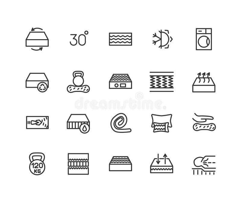 Materac liniowe ikony ustawiać Lateksu, innerspring i pamięci piankowe materac, Odosobnione wektorowe kontur ilustracje ilustracja wektor