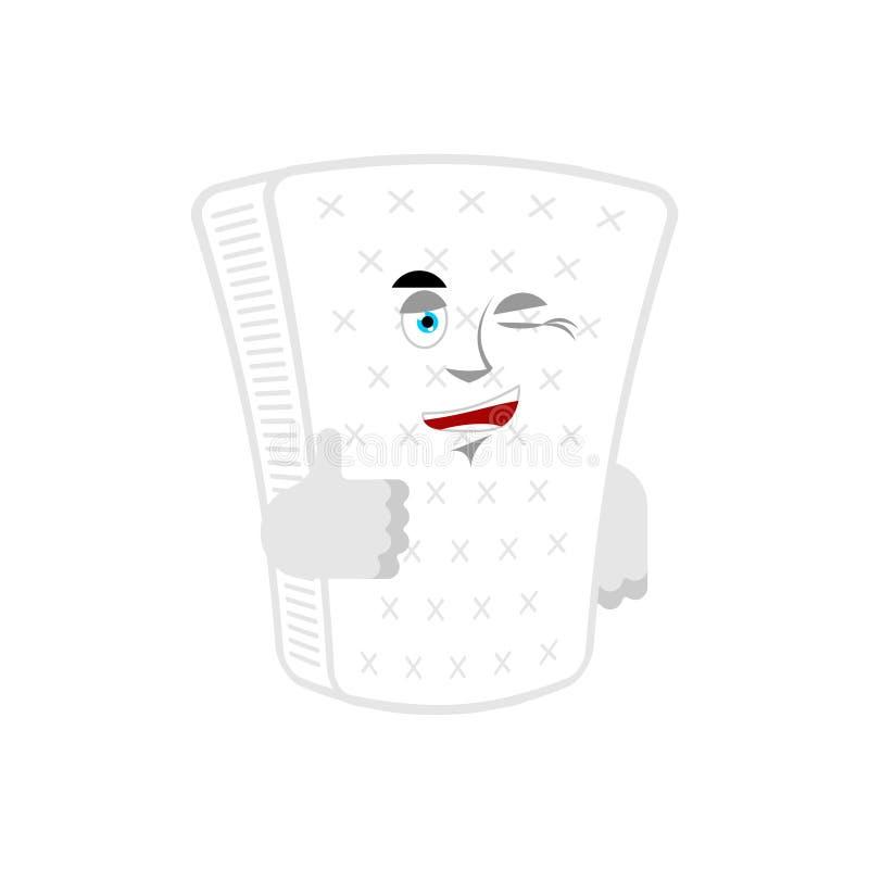 Materac mrugnięcia i aprobaty pufu szczęśliwy emoji radosna Wektorowa ilustracja ilustracji
