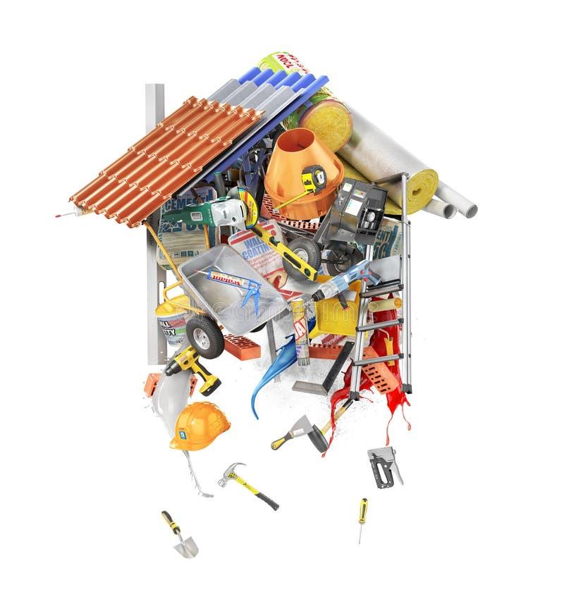 Materiał budowlany kłaść out forma odizolowywająca na bielu dom ilustracja 3 d ilustracja wektor