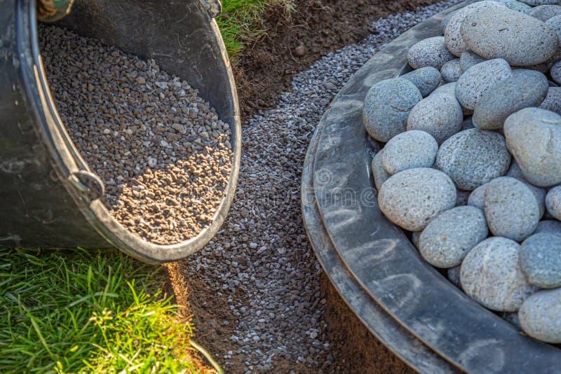 Materiał do grillowania wypełniony krawężnikiem fontanny ogrodowej obraz stock
