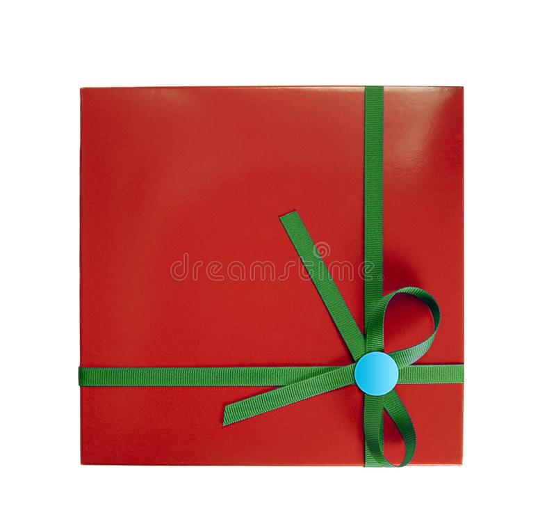 materiał pudełkowata prezentu zielone czerwony zdjęcie stock