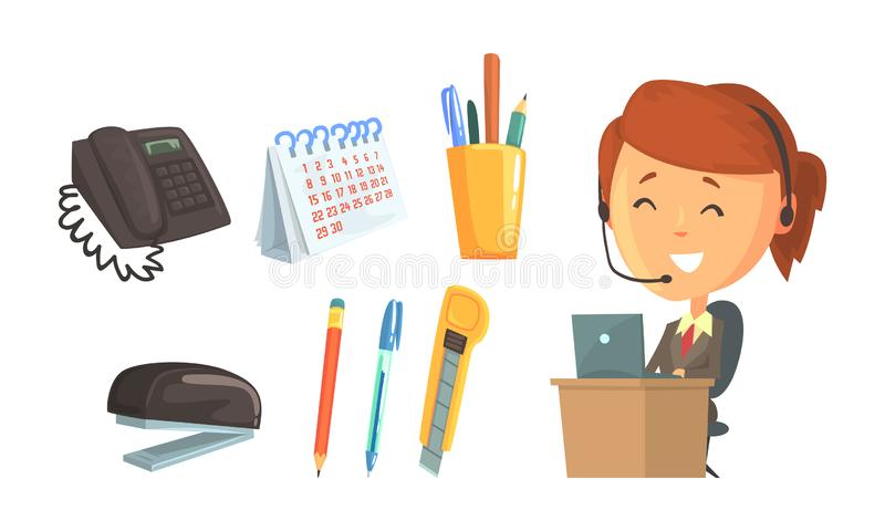Materiały biurowe i uśmiechnięta kobieta nosząca słuchawki pracująca na ilustracji wektorowej centrum obsługi royalty ilustracja