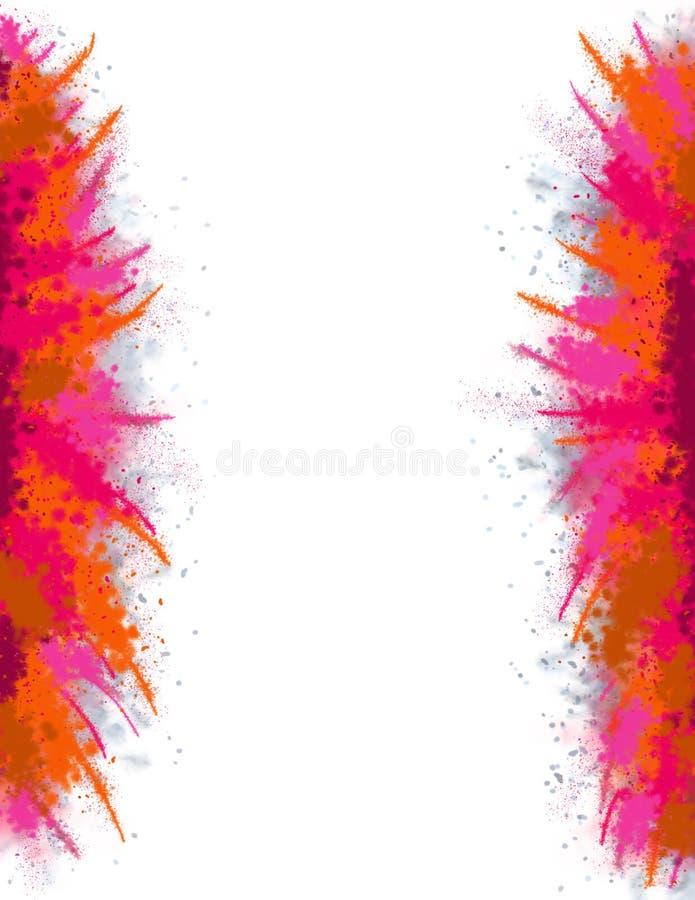 A4 materiały druku strona z wielkim Abstrakcjonistycznym farby pluśnięcia Opuszczać, Prawym Holi świętowaniem/ ilustracja wektor