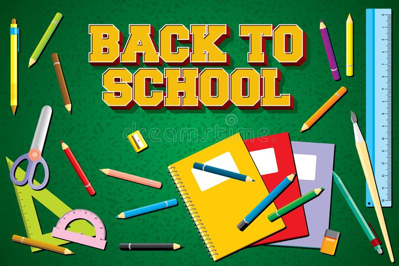 Materiały Kolorowy dla Z powrotem szkoły Wektorowy Ilustracyjny tło ilustracja wektor