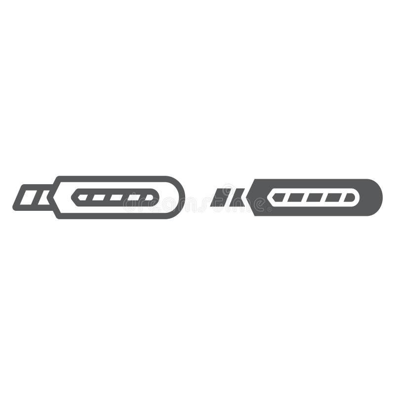 Materiały noża linia, glif ikona, narzędzie i naprawa, boxcutter znak, wektorowe grafika, liniowy wzór ilustracja wektor