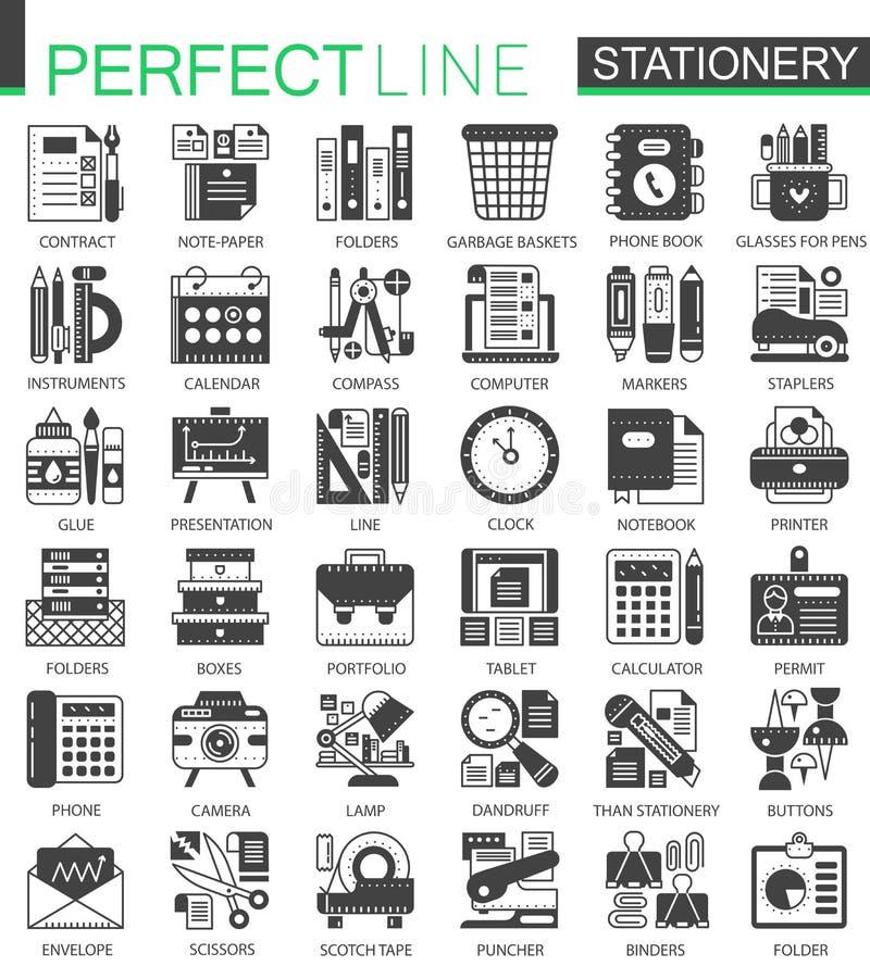 Materiały pojęcia czarni mini symbole Biuro wytłacza wzory nowożytnego ikona piktograma wektorowe ilustracje ustawiać ilustracji