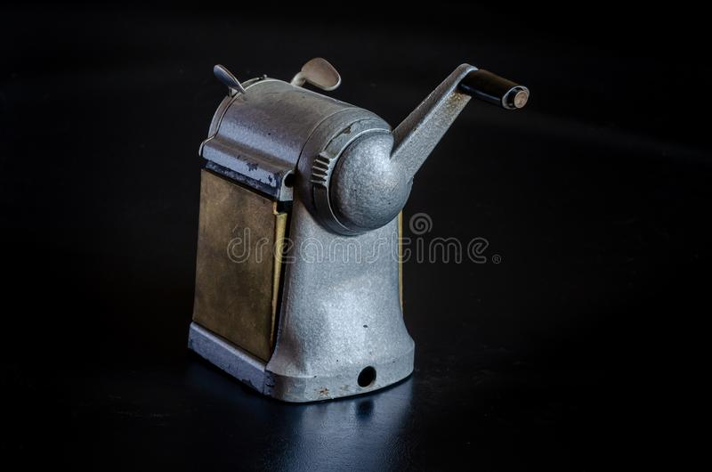 Materiały rzeczy zeszły wiek Machinalna ręczna ostrzarka Makro- By? mo?e zdjęcie stock