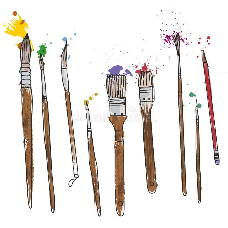 Materiały, sztuka materiały, set farb muśnięcia royalty ilustracja