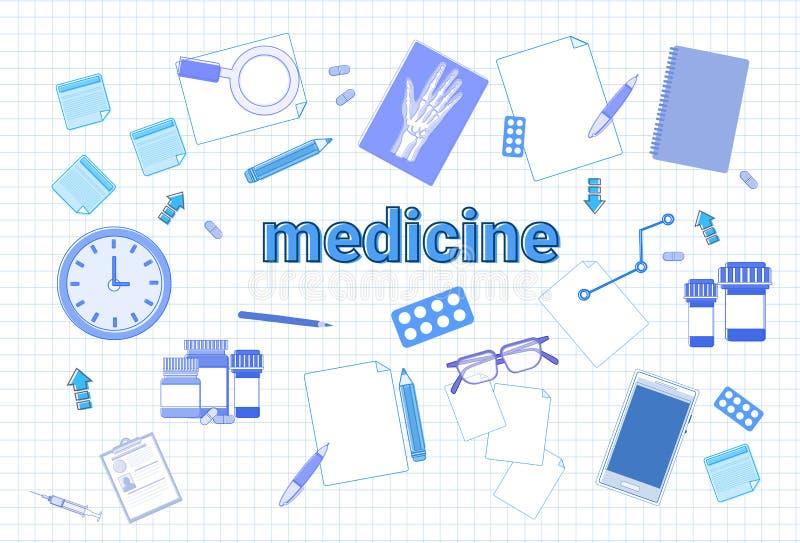 Materia de la medicina en concepto ajustado del lugar de trabajo del equipo de la terapia del fondo del papel del cuaderno stock de ilustración