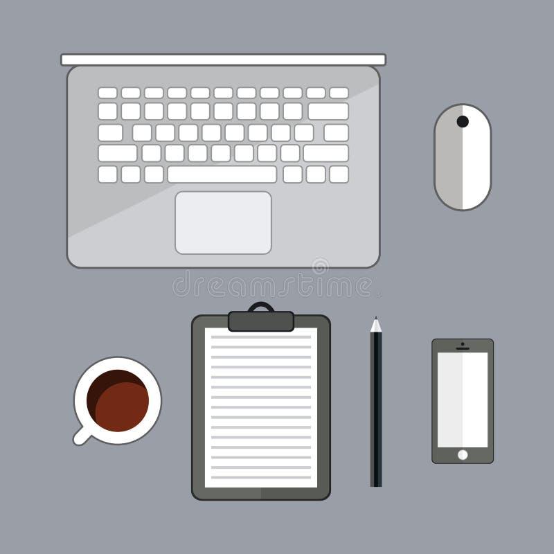 Materia de la oficina con el ordenador portátil, la taza de cofee, y el smartphone Visión superior con el espacio de la copia Mat libre illustration
