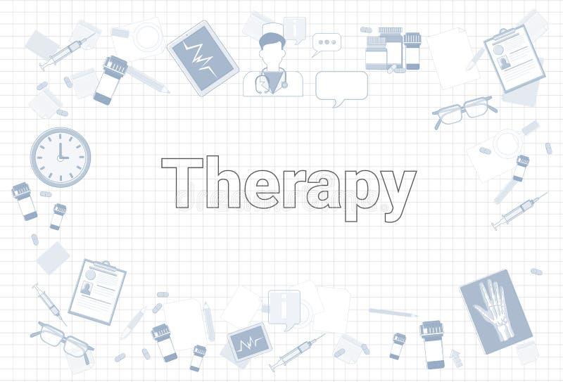 Materia de la terapia en concepto ajustado del lugar de trabajo del equipo de la medicina del fondo del papel del cuaderno libre illustration