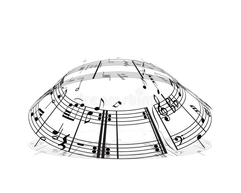 Materia de las notas musicales stock de ilustración