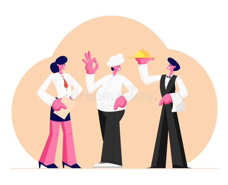 Materia del restaurante Administrador Girl con el cuaderno, jefe en toca, camarero Holding Tray del hombre con el plato debajo de stock de ilustración