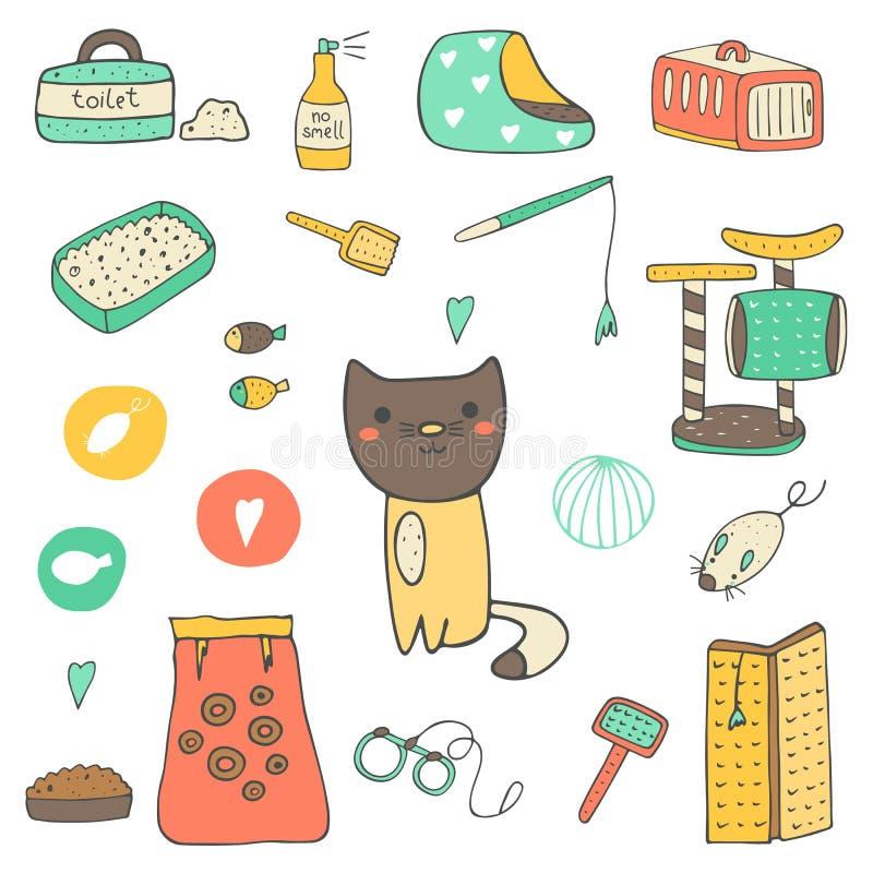 Materia dibujada mano linda del gato del garabato libre illustration