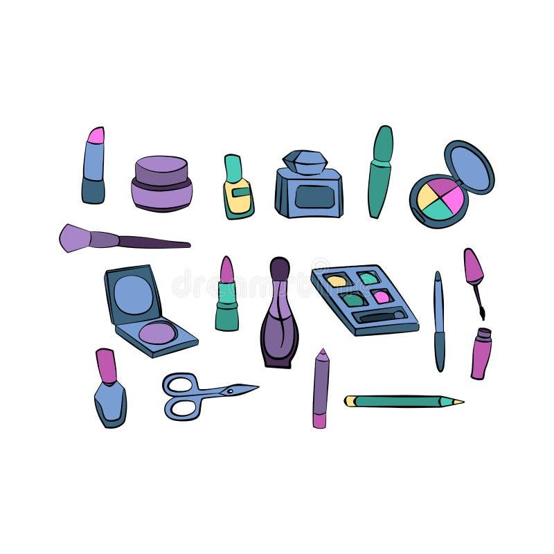 Materia para el maquillaje de la moda de la belleza, remiendos del artículo de la mujer ilustración del vector