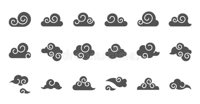 Materia prima del icono chino de la nube para el uso, diseño del glyph stock de ilustración