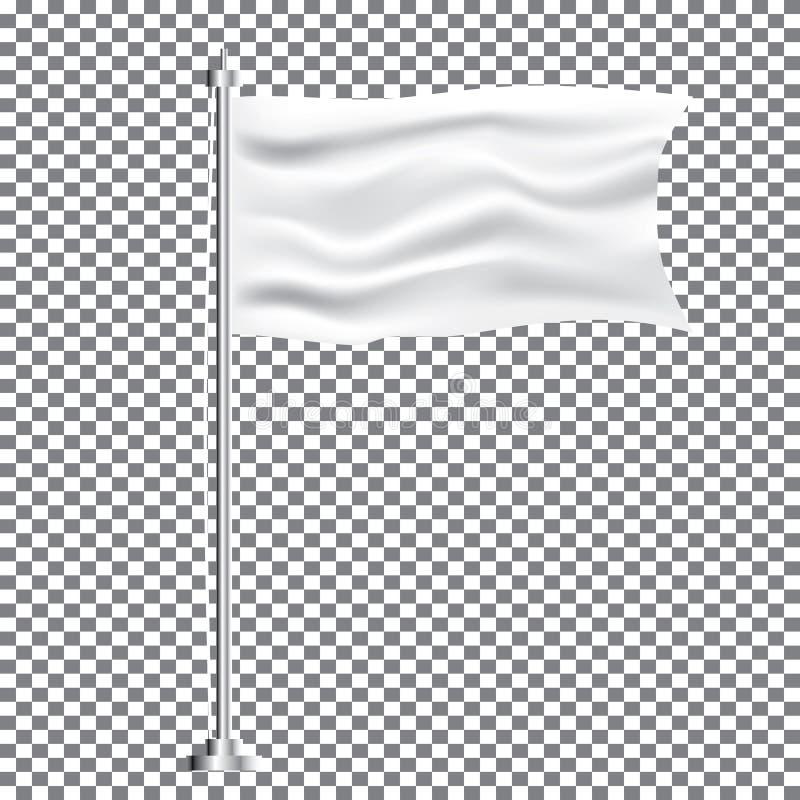 Materia textil blanca que agita la bandera vacía en fondo transparente ilustración del vector