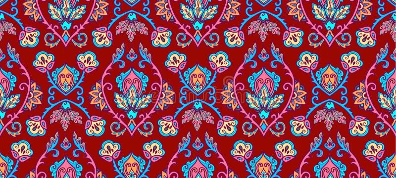 Materia textil del vintage y ornamento colorido floral turco tradicional de la pared en el fondo púrpura, teja inconsútil del mod ilustración del vector