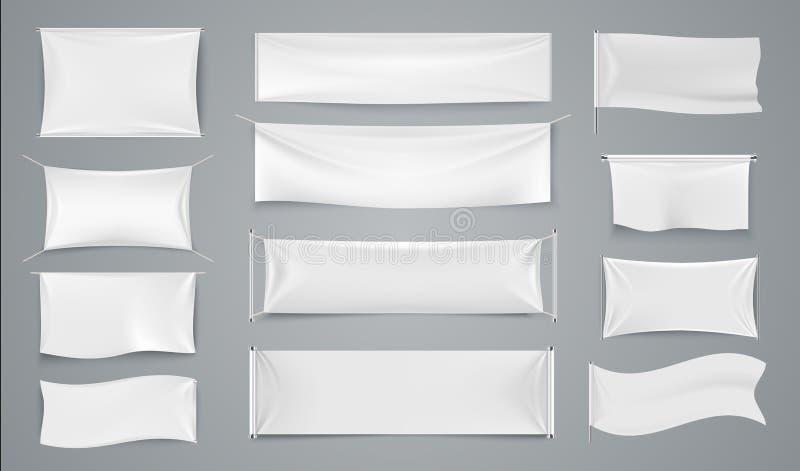 Materia textil que hace publicidad de banderas Muestras blancas de la tela que agitan, etiqueta aislada en blanco del paño de la  libre illustration
