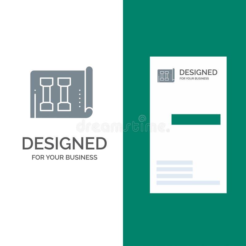 Materiaal, Fitness, Inventaris, Sporten Grey Logo Design en Visitekaartjemalplaatje royalty-vrije illustratie