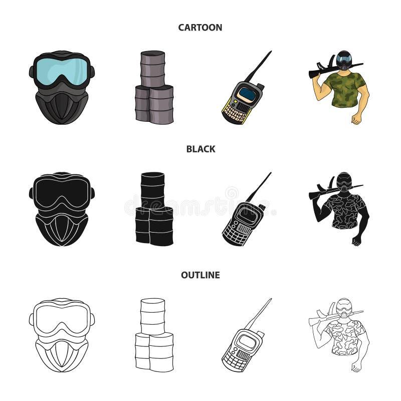 Materiaal, masker, vat, barricade Pictogrammen van de Paintball de vastgestelde inzameling in beeldverhaal, zwarte, vector het sy royalty-vrije illustratie