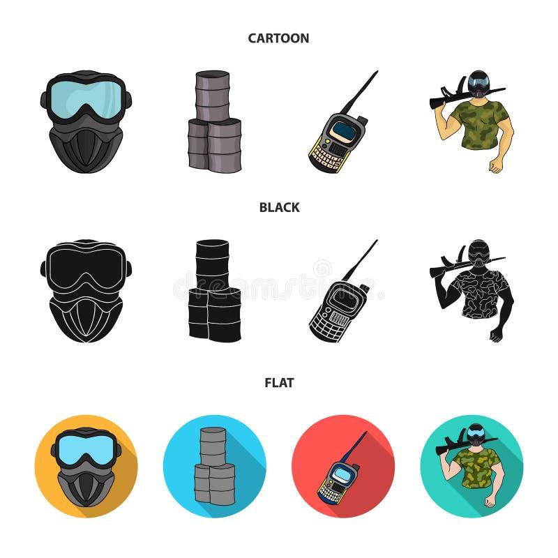 Materiaal, masker, vat, barricade Pictogrammen van de Paintball de vastgestelde inzameling in beeldverhaal, de zwarte, vlakke voo vector illustratie