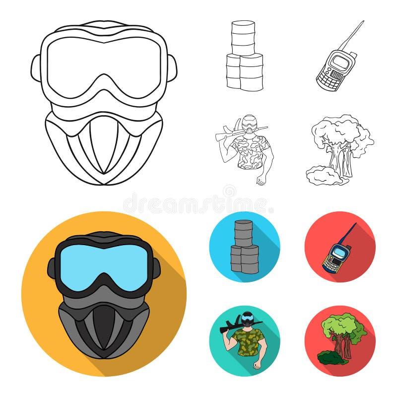 Materiaal, masker, vat, barricade Pictogrammen van de Paintball de vastgestelde inzameling in overzicht, de vlakke voorraad van h vector illustratie