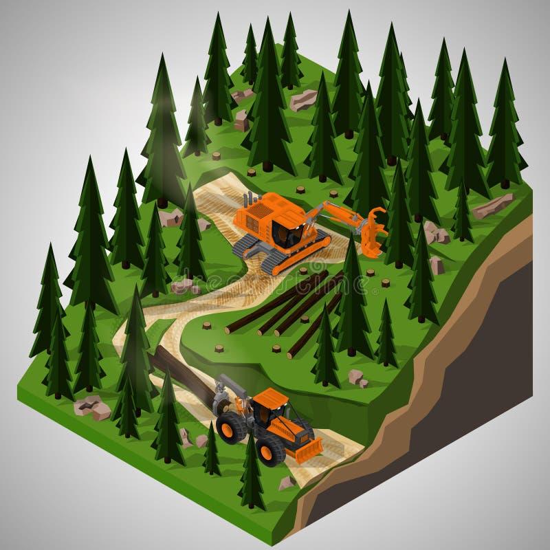 Materiaal voor de bosbouwindustrie royalty-vrije illustratie
