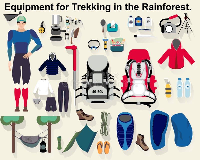 Materiaal voor Trekking in het Regenwoud vector illustratie