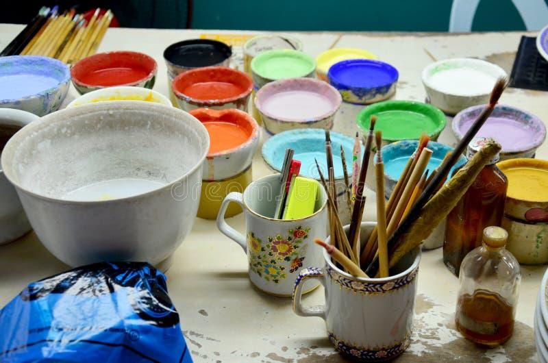Materiaal voor verf Ceramische Benjarong stock fotografie
